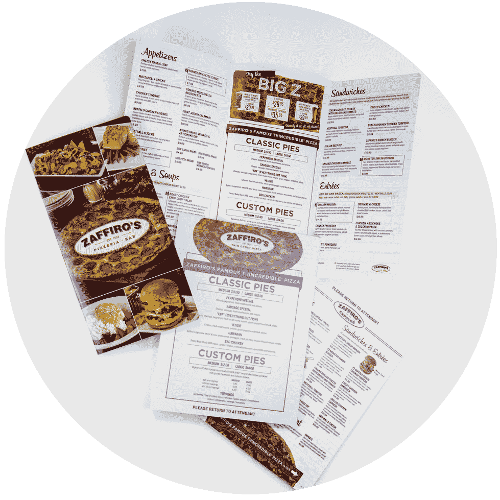 Print On-Demand Laminated Menus