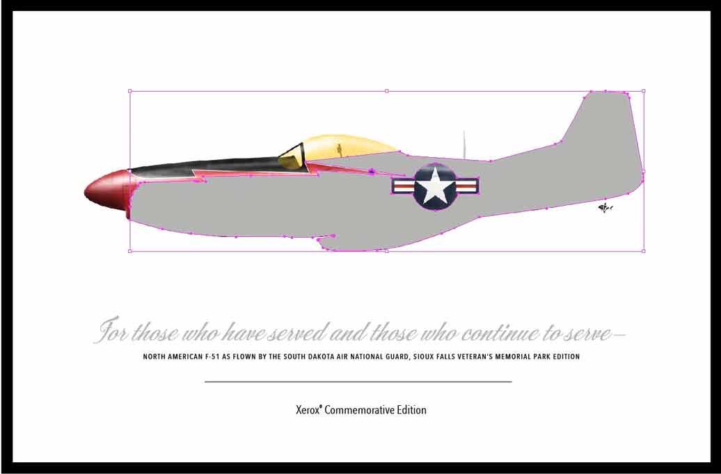 Metallic Dry Ink Illustrator Airplane Image